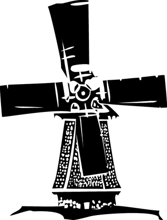 Woodcut style image of a old style dutch windmill.