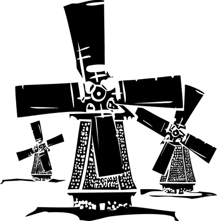 Woodcut style image of three old style dutch windmills.
