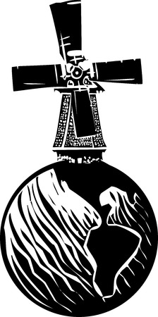 Woodcut style image of a old style dutch windmill on a globe of the earth.