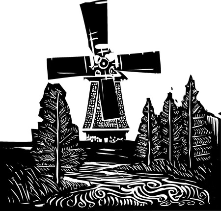 Woodcut style image of a old style dutch windmill in a rural landscape.