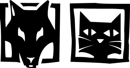 Woodcut style image or icons of a dog and and cat