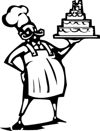french fancy: Woodcut style image of a french chef and a wedding cake