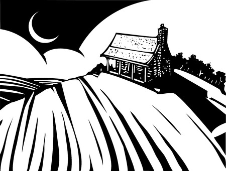plow: Woodcut style image of a log cabin house on a prairie.