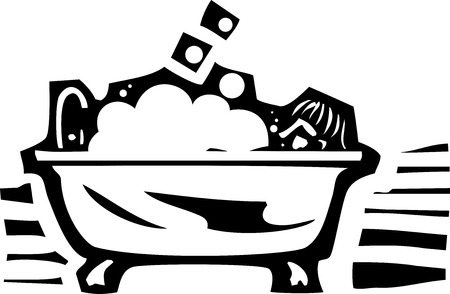 fixture: Woodcut style image of a person sitting in a bubble bath in a claw foot bathtub