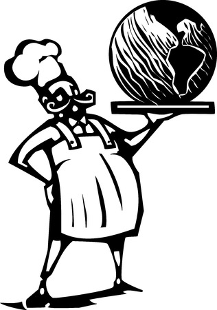 french fancy: Woodcut style image of a french chef and serving tray with the earth Illustration
