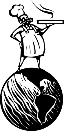 french fancy: Woodcut style image of a french chef standing on the earth with a hot pizza box.