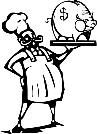 french fancy: Woodcut style image of a french chef with a piggy bank on a tray