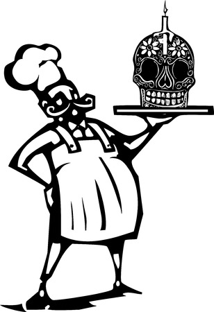 french fancy: Woodcut style image of a french chef with a Mexican day of the dead candy skull and candle Illustration