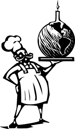 french fancy: Woodcut style image of a french chef and serving tray with an earth shaped birthday cake and candle.