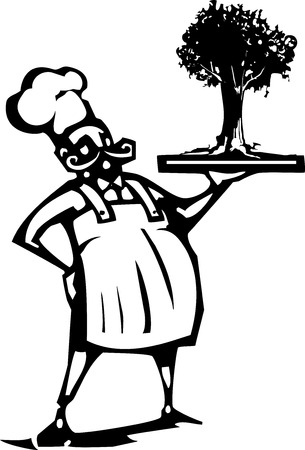 Woodcut style image of a french chef serving a tree on a tray