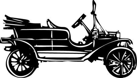 Woodcut style expressionist image a vintage car