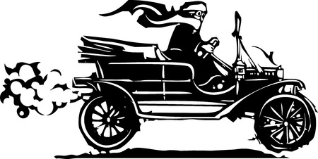 Woodcut style expressionist image of a woman driving a vintage car