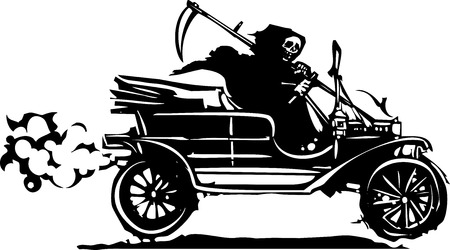 Grim Reaper: Woodcut style expressionist image of the grim reaper death driving a vintage car