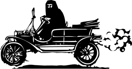 burka: Woodcut style expressionist image of a woman driving a vintage car in traditional Muslim clothes.