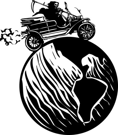 Woodcut style expressionist image of the grim reaper death driving a vintage car around the globe