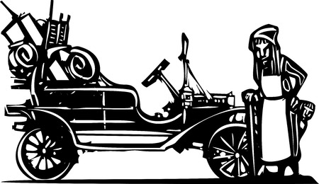 jalopy: Woodcut style expressionist image of an old woman leaving home during the great depression in a vintage car