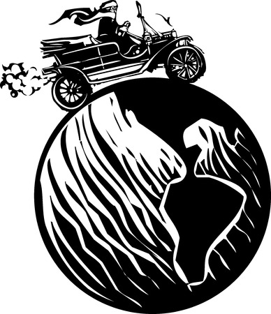 Woodcut style expressionist image of a woman driving a vintage car around the world