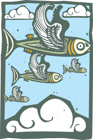 Woodcut style image of a flock of fish with wings in the sky. Ilustracja