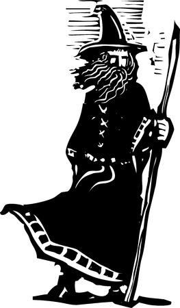 woodcut style image of a wizard holding a magic staff 일러스트