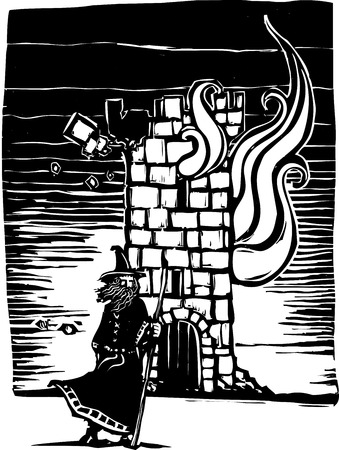 Woodcut style image of a wizard standing in front of burning castle tower. Illustration