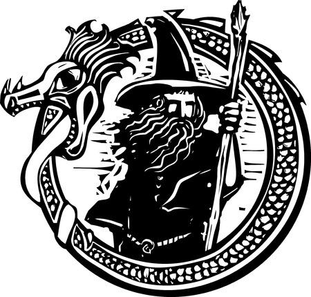 Drzeworyt styl obrazu z kreatora w otaczającym smoka