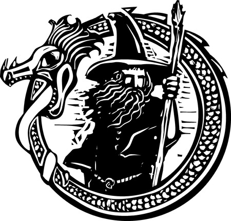 Woodcut style image of a wizard in a an encircling dragon