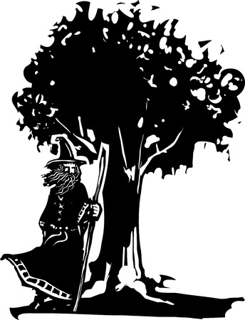 druid: Woodcut style image of a wizard standing next to an oak tree. Illustration