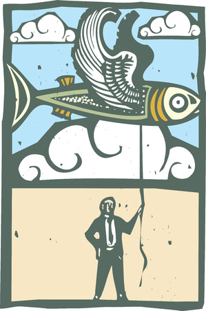 Woodcut style image of a flying fish being held on a string by a man in a business suit.