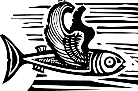 feathered: Woodcut style image of a flying fish with feathered wings.