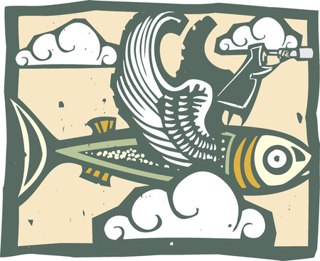 hallucination: woodcut style image of a man with a telescope riding a winged fish. Illustration