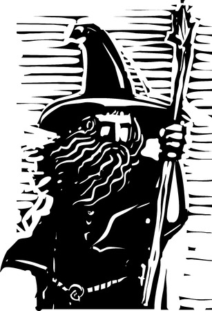 druid: Woodcut style image of a magical wizard holding a staff