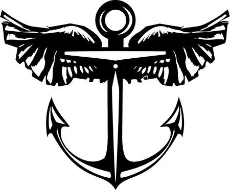 ancre marine: Ancre flottante de gravure sur bois de style avec des ailes.