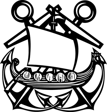 Crossed Woodcut style sea anchors with viking ship