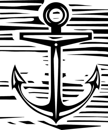 rough sea: Woodcut style maritime sea anchor in rough background
