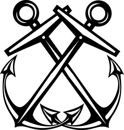 woodcut: Crossed Woodcut style maritime sea anchors