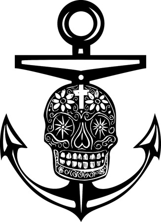 dead sea: Woodcut style sea anchor with a Mexican Day of the Dead Skull