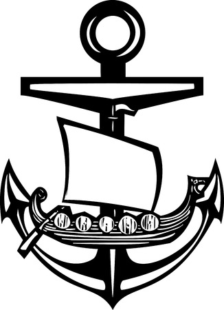 Woodcut style sea anchor with viking ship