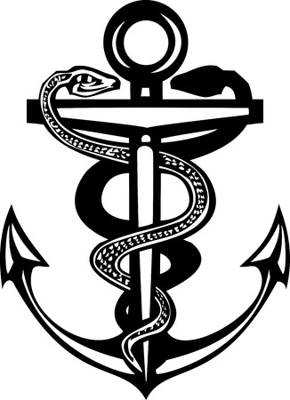 entwined: Woodcut style sea anchor with two entwined snakes Illustration
