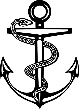 sea snake: Woodcut style sea anchor with a caduceus snake