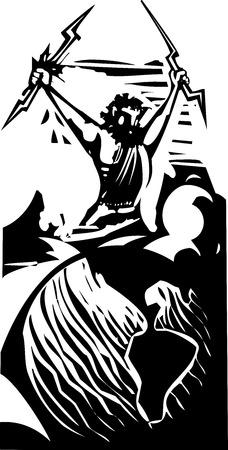greek god: Imagen del estilo del grabar en madera del dios griego Zeus en un globo de la tierra.