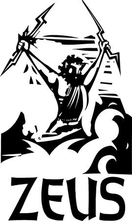 greek god: Imagen del estilo del grabar en madera del dios griego Zeus con su nombre