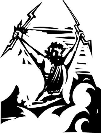 greek god: Imagen del estilo del grabar en madera del dios griego Zeus Vectores