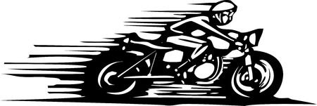 race winner: Woodcut style image of a cafe racer style motorcycle.