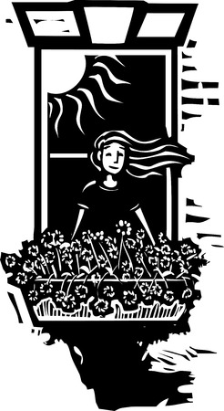 Woodcut style image of a girl in a window growing flowers