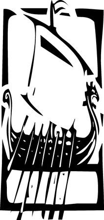 フレームに北欧のバイキングの帆船の表現スタイル木版画イメージ。  イラスト・ベクター素材