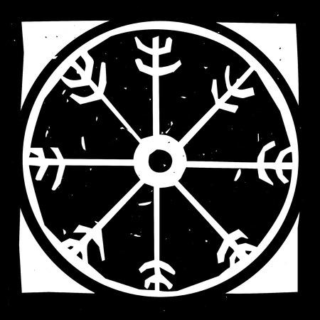 Woodcut style image of the magical Viking wheel symbol