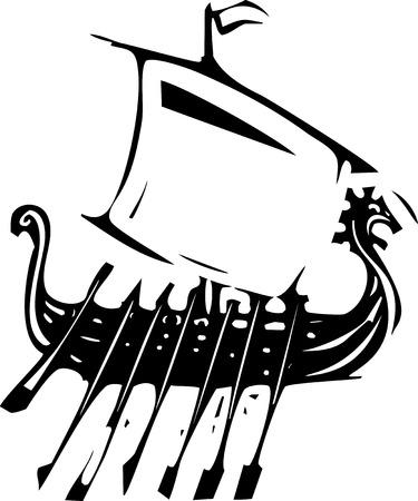 北欧のバイキングの帆船の表現スタイル木版画イメージ。  イラスト・ベクター素材