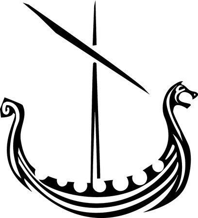 vikingo: imagen de estilo de grabado de un barco vikingo vela nórdica.