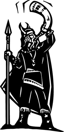 Woodcut style image of a viking warrior with a spear blowing a war horn Illustration