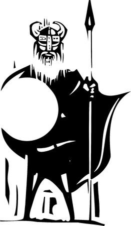 木版画の表現主義槍と盾を持ってバイキング